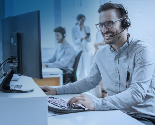 a friendly call center agent on the phone
